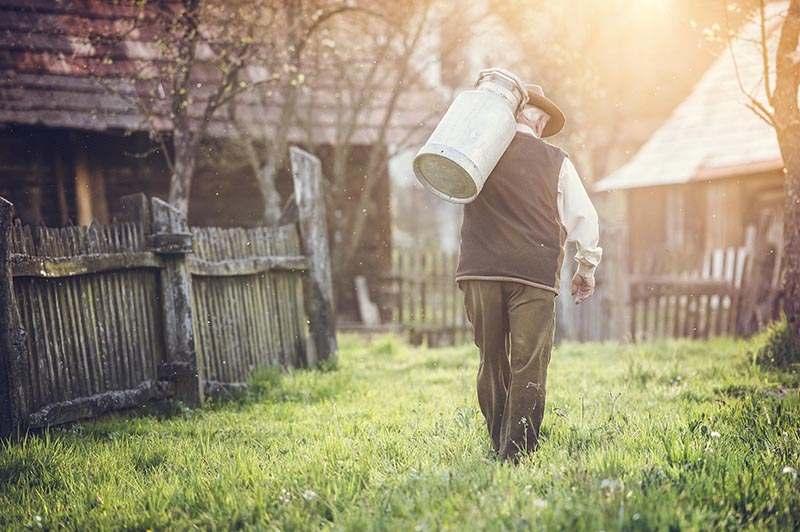 Milchbauer, der eine Kanne frische Milch trägt