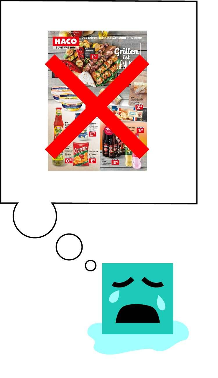 Shoppie weint und denkt an die ausgefallene Beilage von HACO