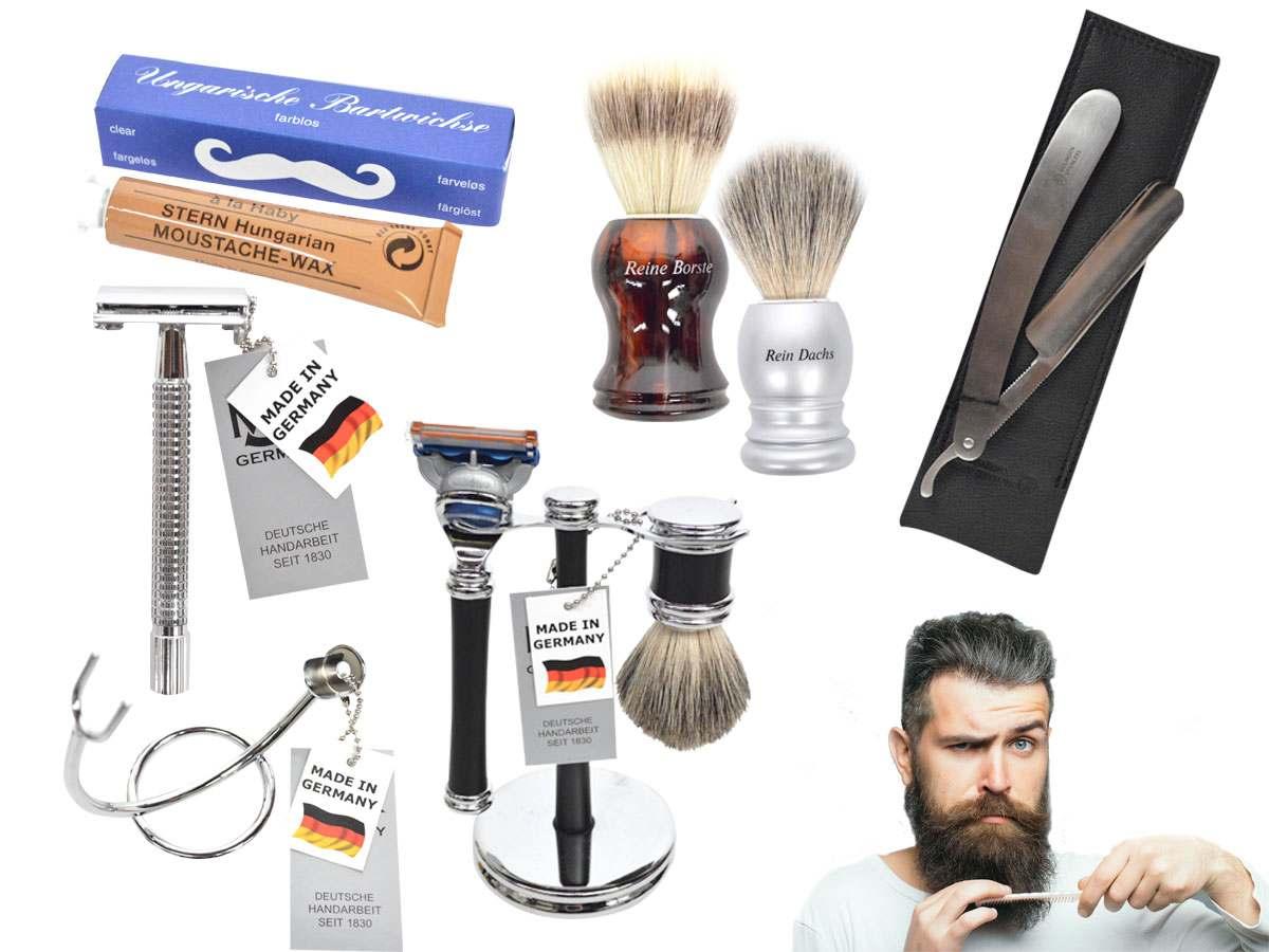 Verschiedene Bartpflegeprodukte