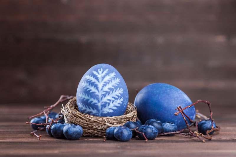 Eier färben mit Heidelbeeren, Blaubeeren