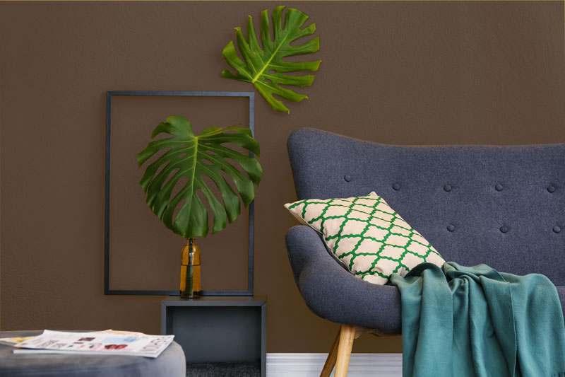 Wohnzimmer Wandfarbe braun