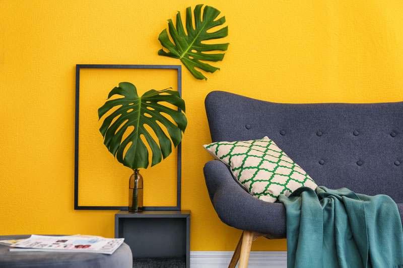 Wohnzimmer Wandfarbe gelb