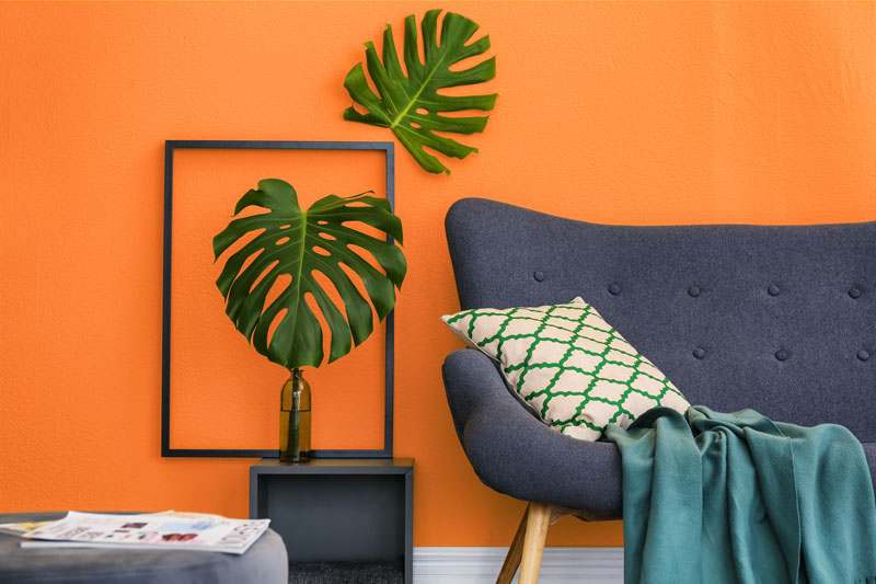 Wohnzimmer Wandfarbe orange