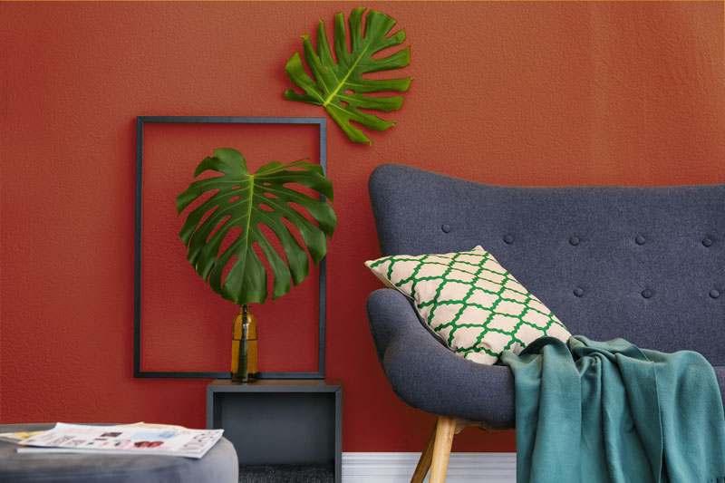 Wohnzimmer Wandfarbe bordeauxrot