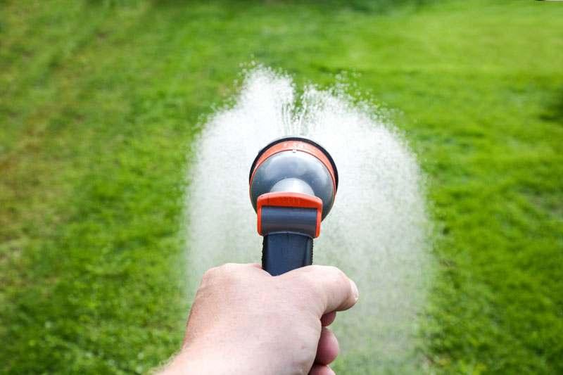 Rasen wässern, bewässern mit Gartenschlauch und Düse